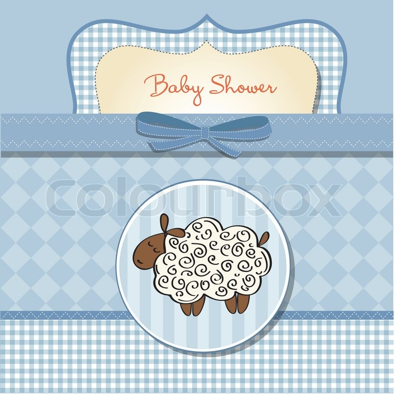 Cute Baby Shower Card With Sheep Stock Vector Colourbox