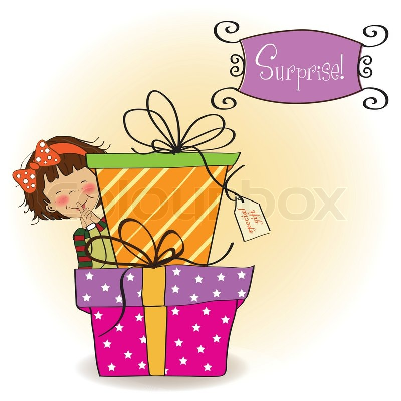 Cute little girl hidden behind boxes of gifts happy birthday cute little girl hidden behind boxes of gifts happy birthday greeting card vector bookmarktalkfo Gallery
