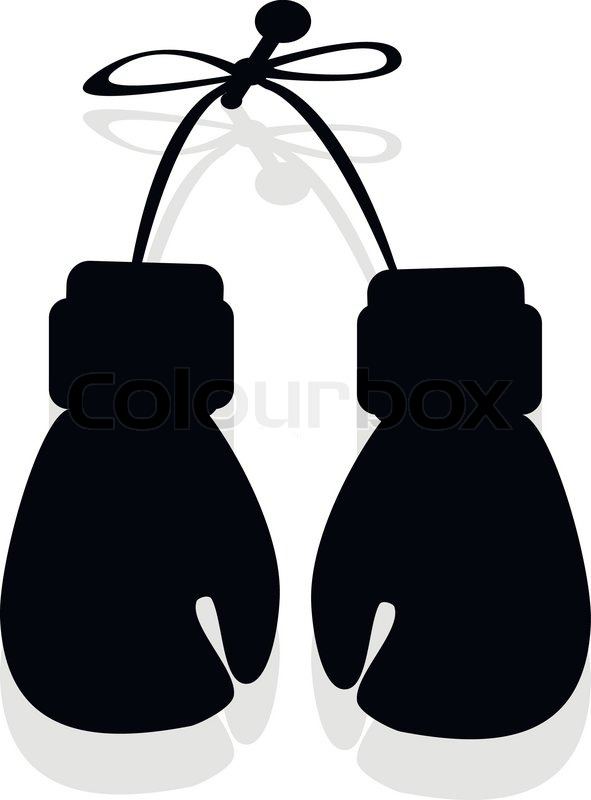 silhouette of boxing gloves in the vector stock vector colourbox