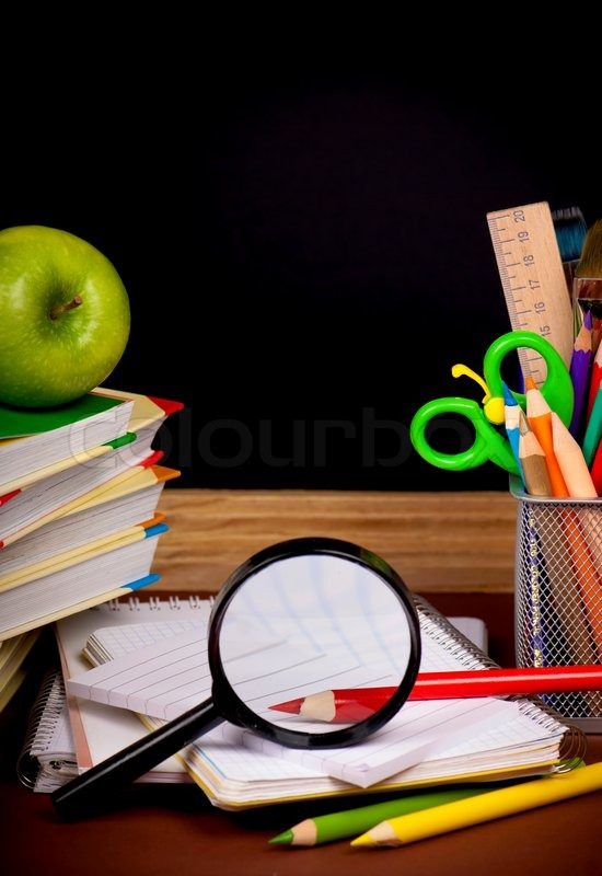 Stock image of 'Stack of books,apple, globe and pencils'