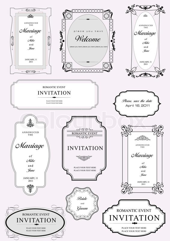 Set of ornate vector frames and ornaments with sample text perfect set of ornate vector frames and ornaments with sample text perfect as invitation or announcement all pieces are separate easy to change colors and edit stopboris Images