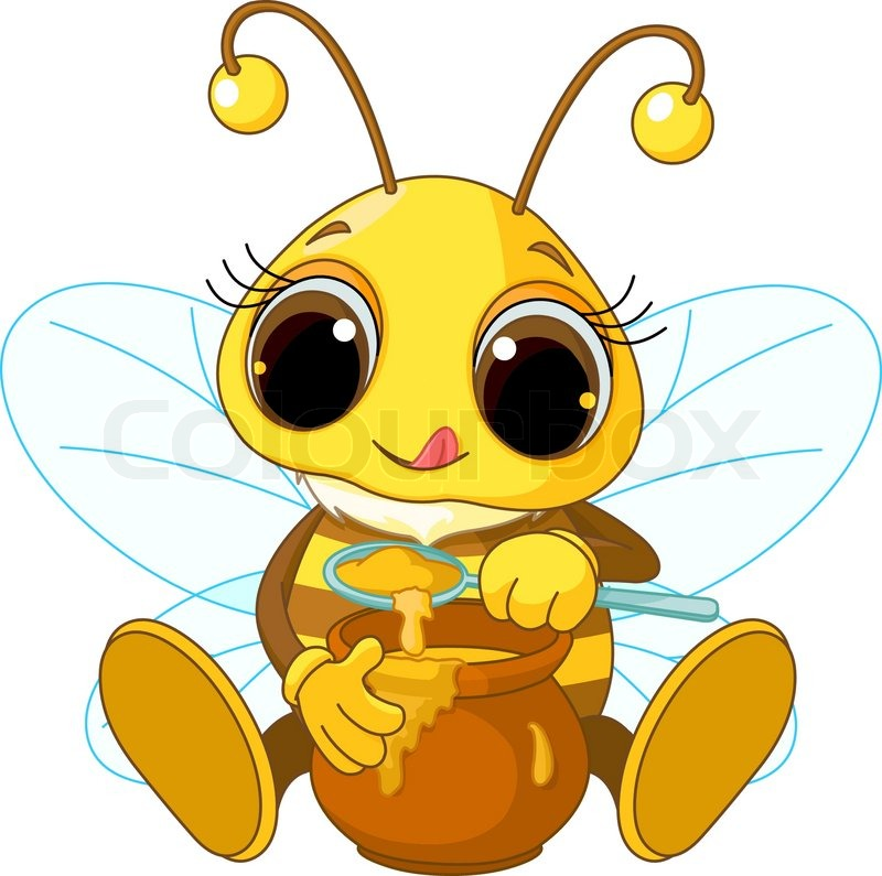 Cute Bee eating honey   Stock vector   Colourbox