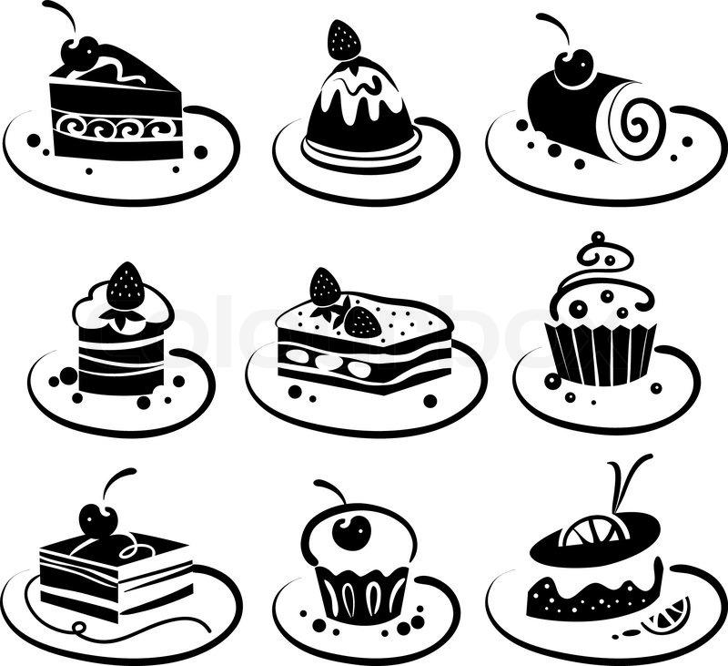 Susse Kuchen Symbole Vektorgrafik Colourbox