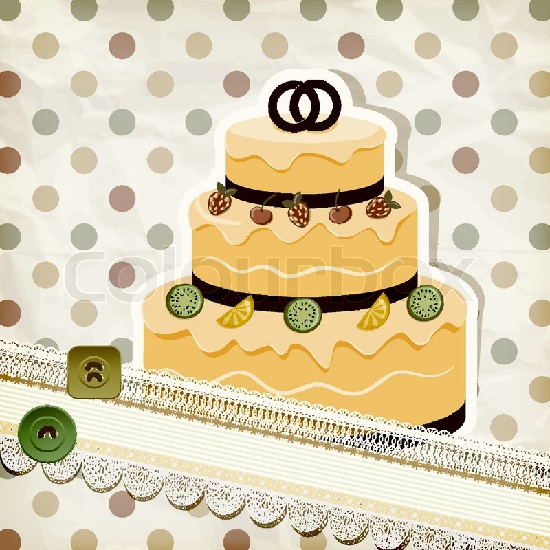 Vector vintage pattern with wedding cake and retro background ...
