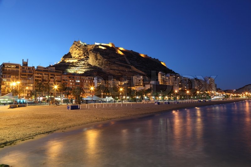 Seaside View Of Alicante Illuminated At Night Spain