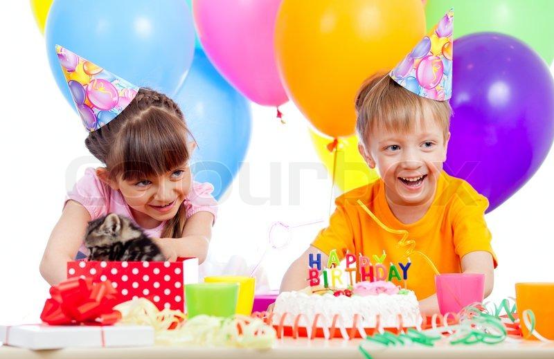 Happy Children Celebrating Birthday