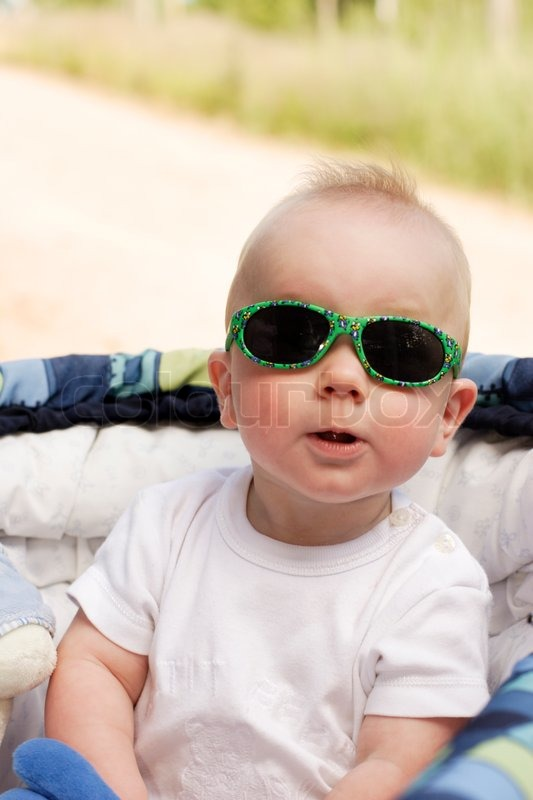 Funny Looking 6 Months Old Boy Wearing Stock Photo