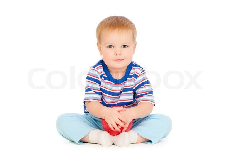 pretty small boy with red ball stock photo colourbox