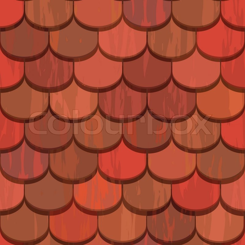 Seamless Red Clay Roof Tiles Stock Vector Colourbox