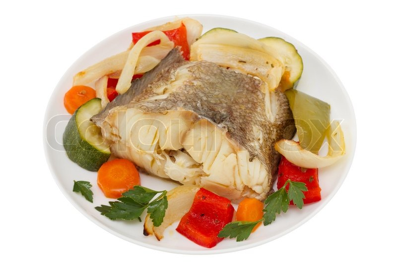 Boiled fish with vegetables on the plate stock photo for Fish and veggie diet