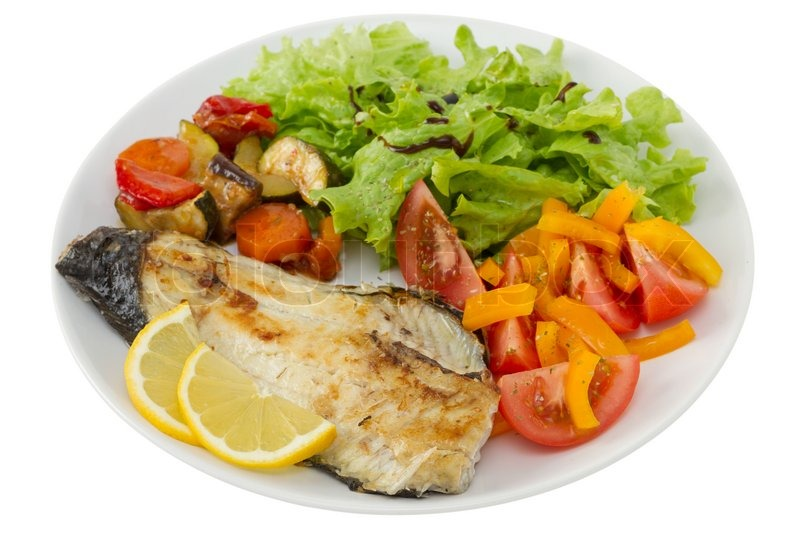 Fried fish with vegetables and salad stock photo for What vegetables go with fish
