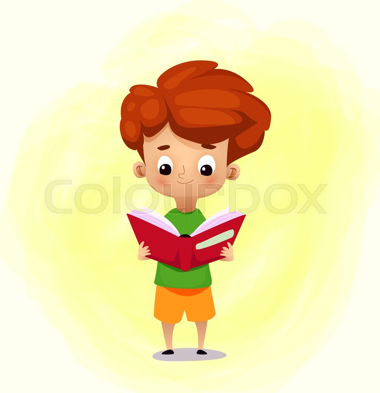 Cute Cartoon Boy Reading Book Stock Vector Colourbox