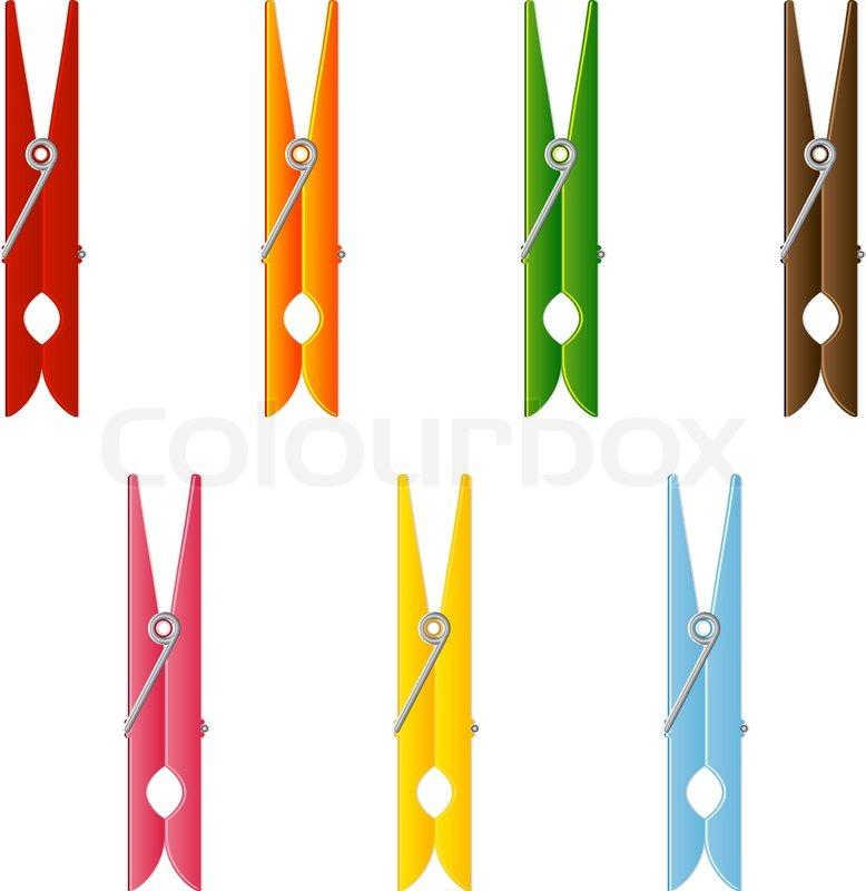 Clip Art Clothes Clip clothes pin set stock vector colourbox vector