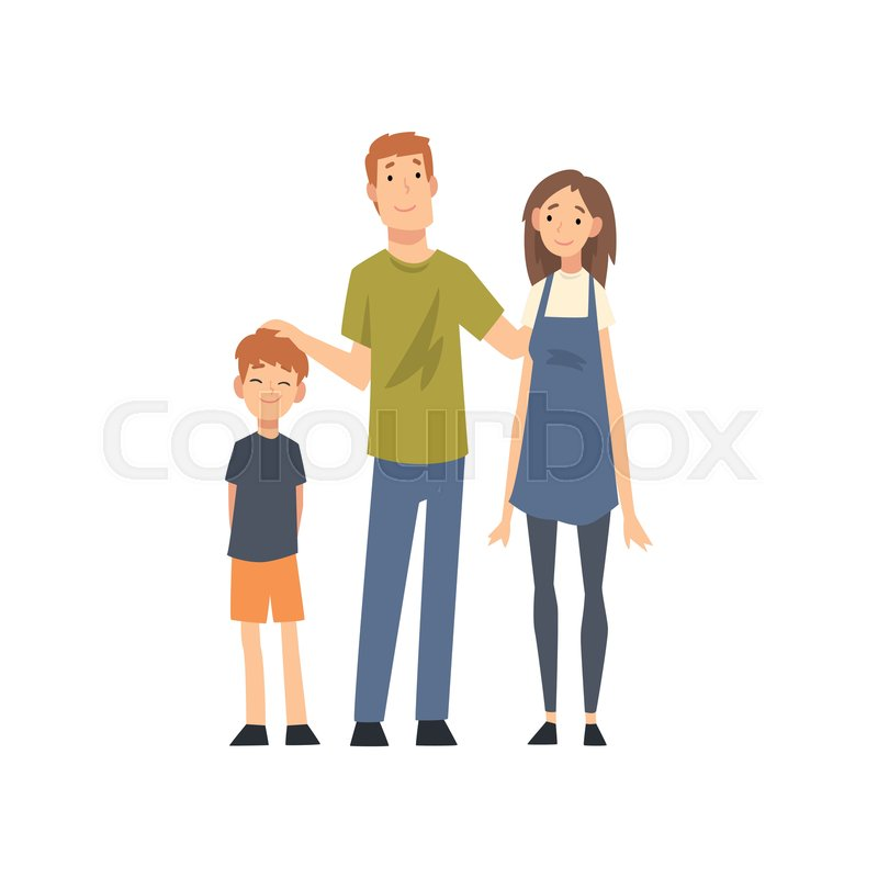 Smiling Mother Father And Son Happy Stock Vector Colourbox
