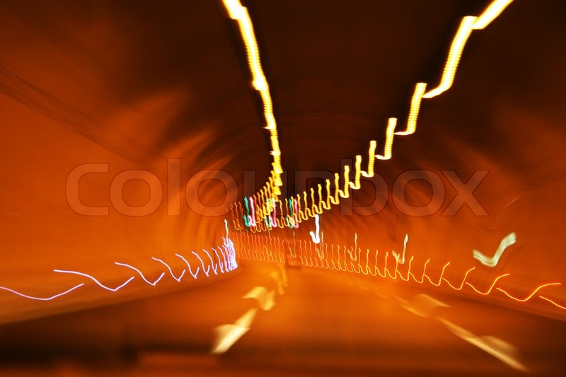 Lights in tunnel, stock photo