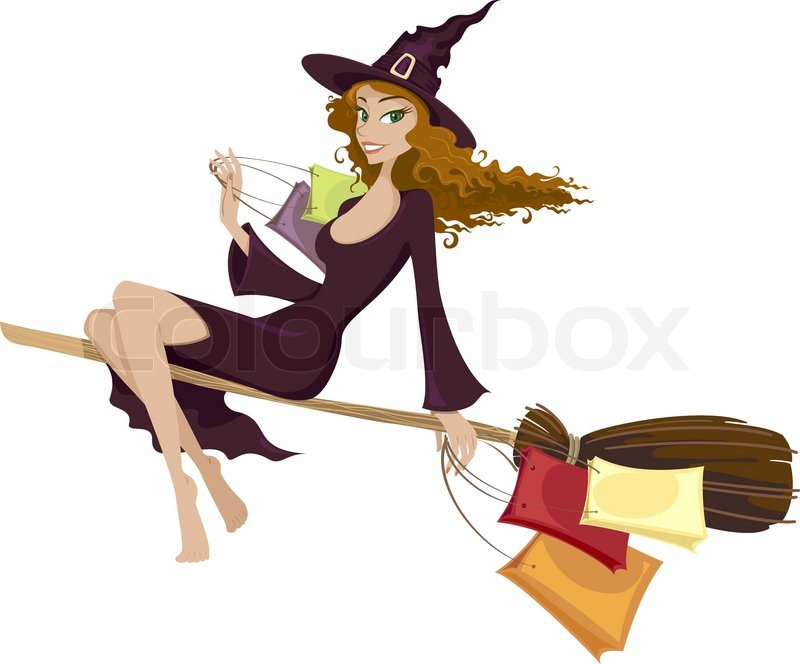halloween witch flying on the broom stock vector colourbox