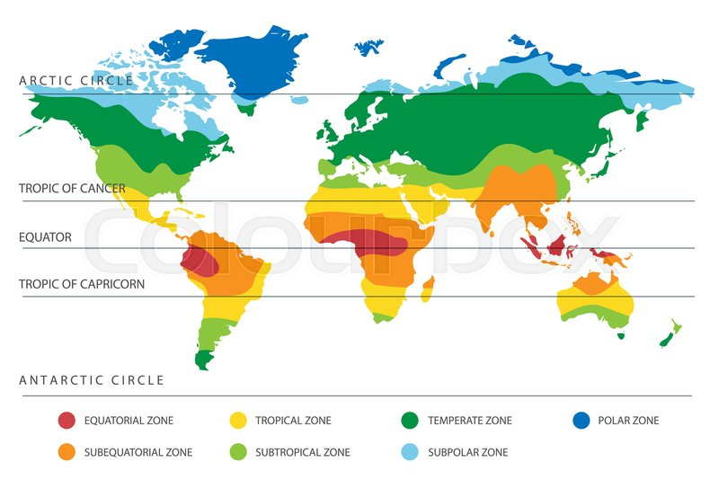 World climate zones map with equator ... | Stock vector ...