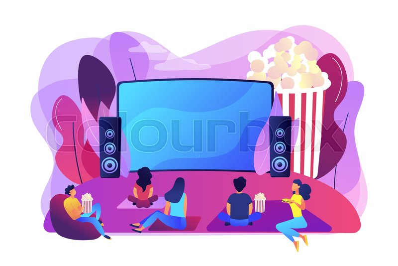 Movie Night With Friends Watching Stock Vector Colourbox