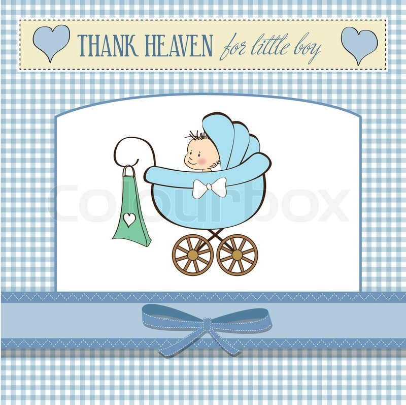 baby boy announcement card with baby and pram stock vector colourbox