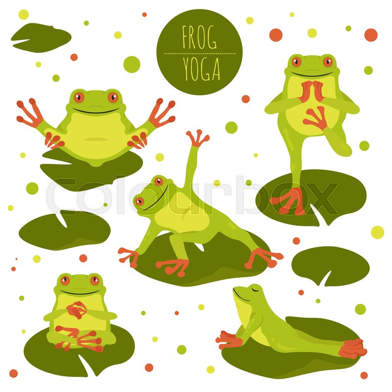 Frog Yoga Poses And Exercises Cute Stock Vector Colourbox