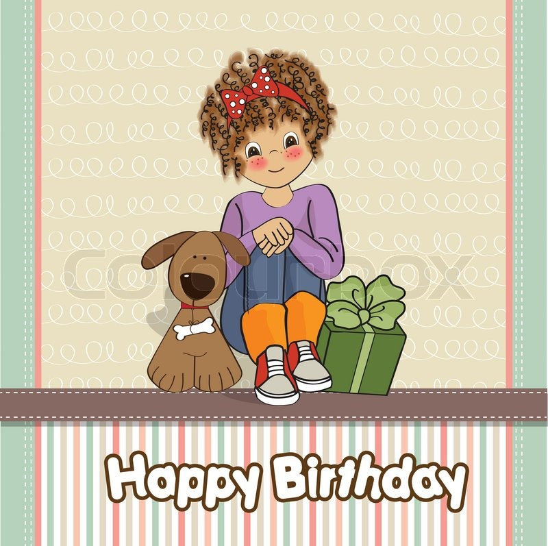 Birthday Greeting Card With Pretty Little Girl Stock Vector