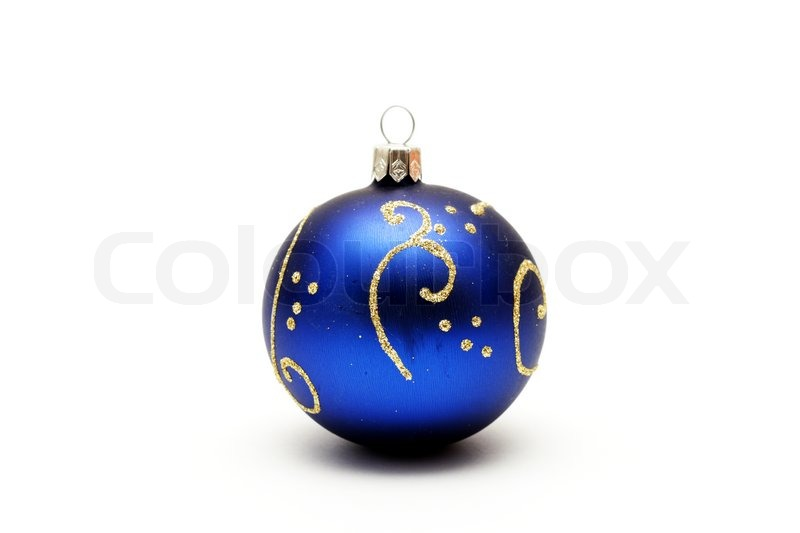 dark blue christmas ball with gold pattern isolated on white bac stock photo colourbox - Navy Blue Christmas Ornaments