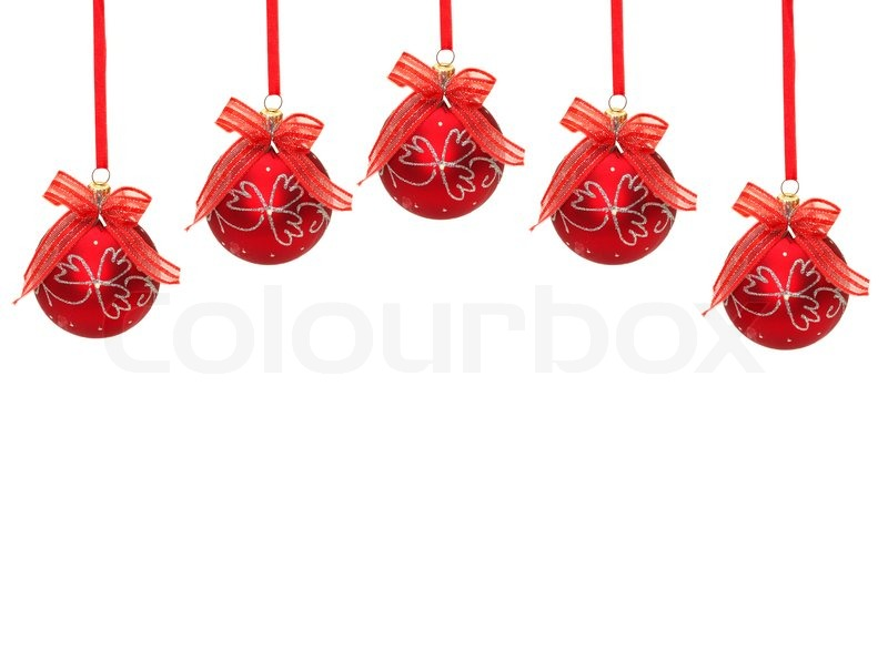 Red Christmas Balls With Ribbon And Bow Isolated On White