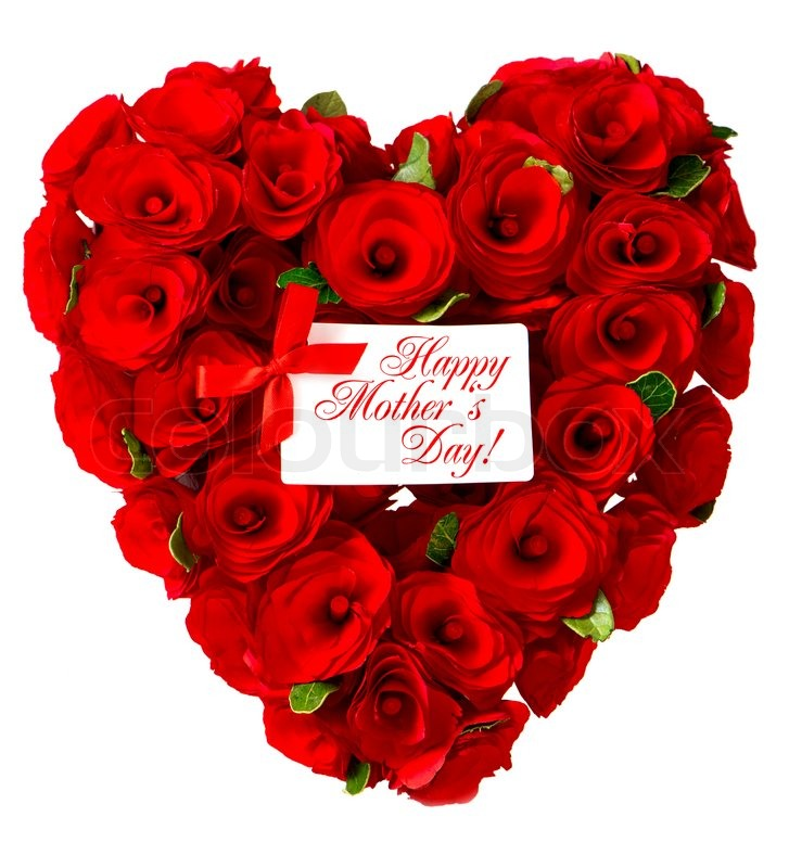 happy mother s day red heart of roses with white card stock photo