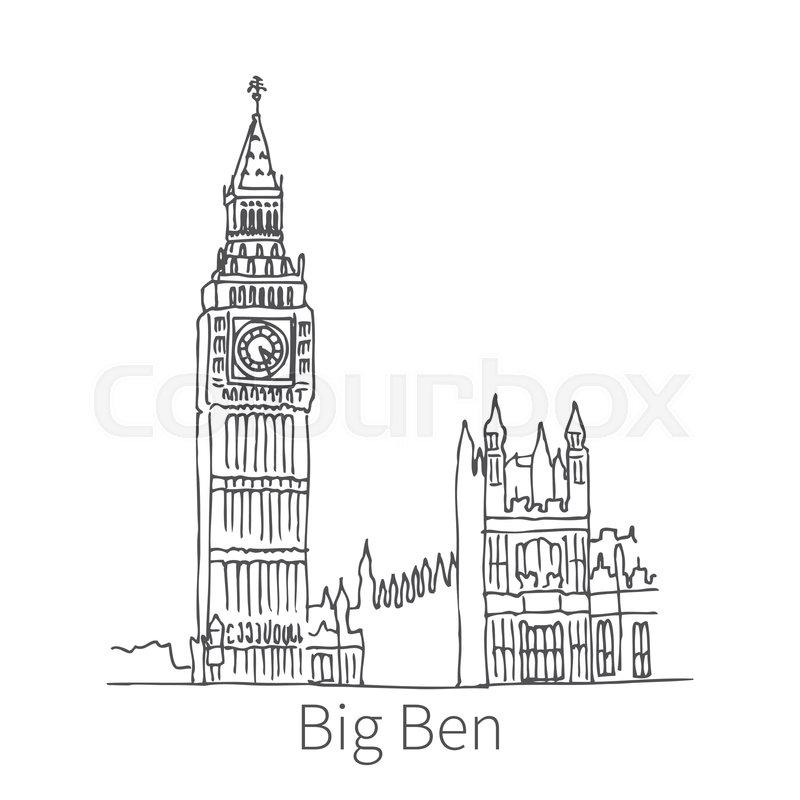 Famous Big Ben Drawing Sketch Stock Vector Colourbox