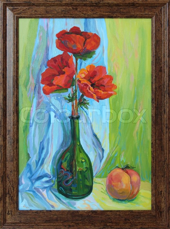 Painting A Vase Of Flowers And Peach Oil Paints Stock Photo