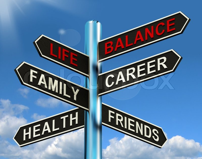 Life Balance Signpost Shows Family Career Health And Friends, stock photo