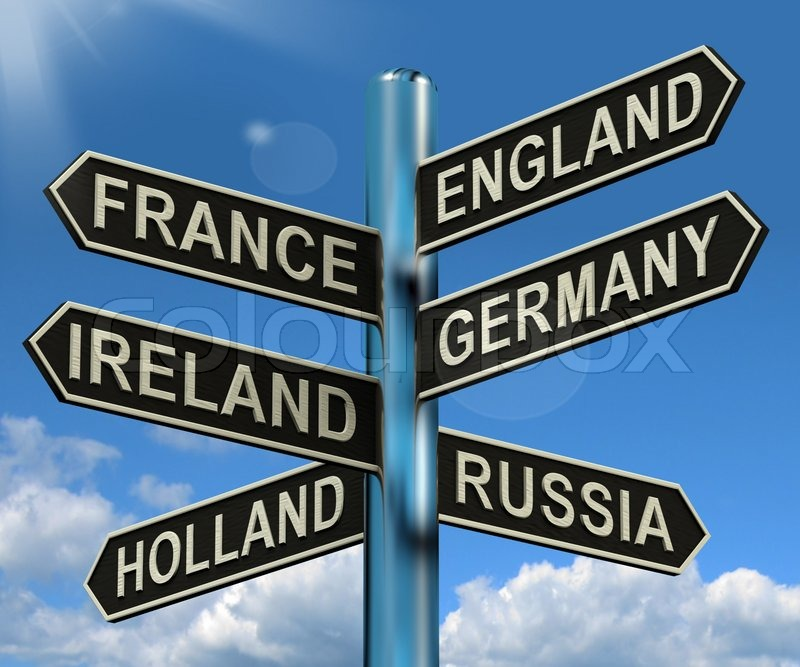 Buy stock photos of travel destinations colourbox england france germany ireland signpost shows europe travel tourism and destinations sciox Image collections