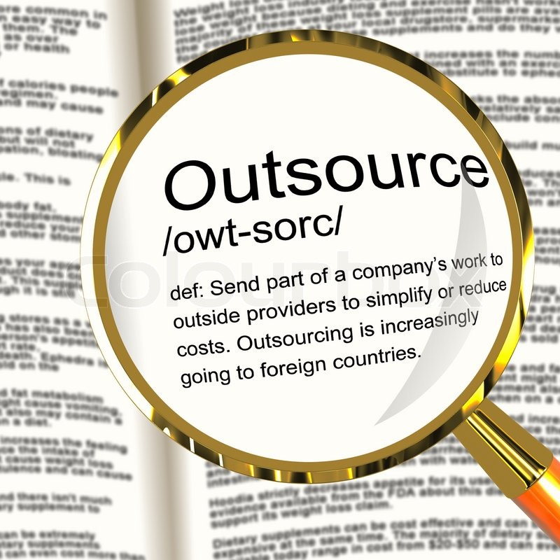 Outsource Definition Magnifier Showing Subcontracting