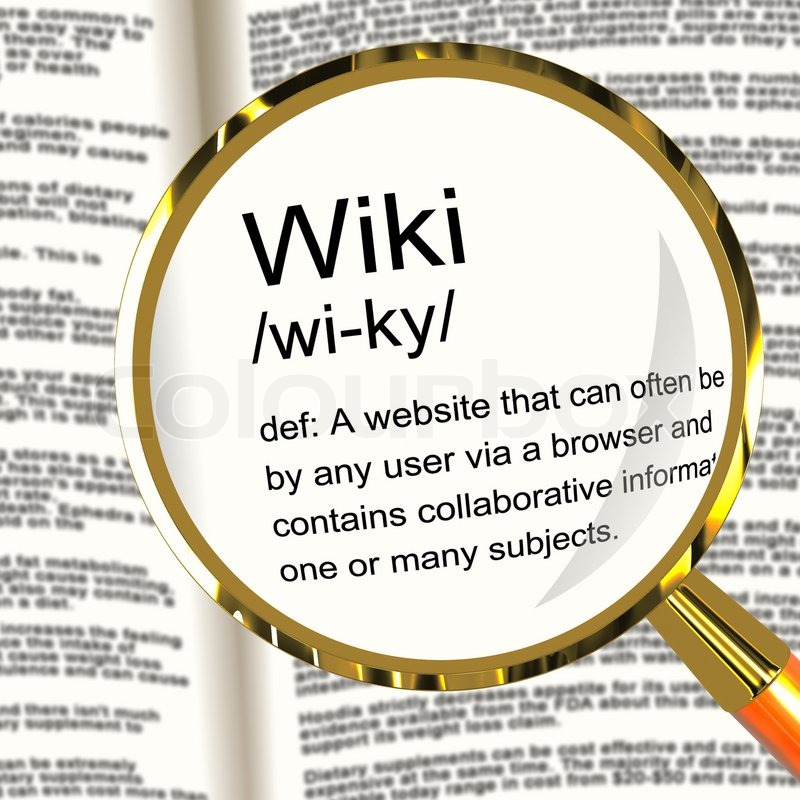 Wiki Definition Magnifier Showing Online Collaborative Community  Encyclopedia   Stock Photo   Colourbox