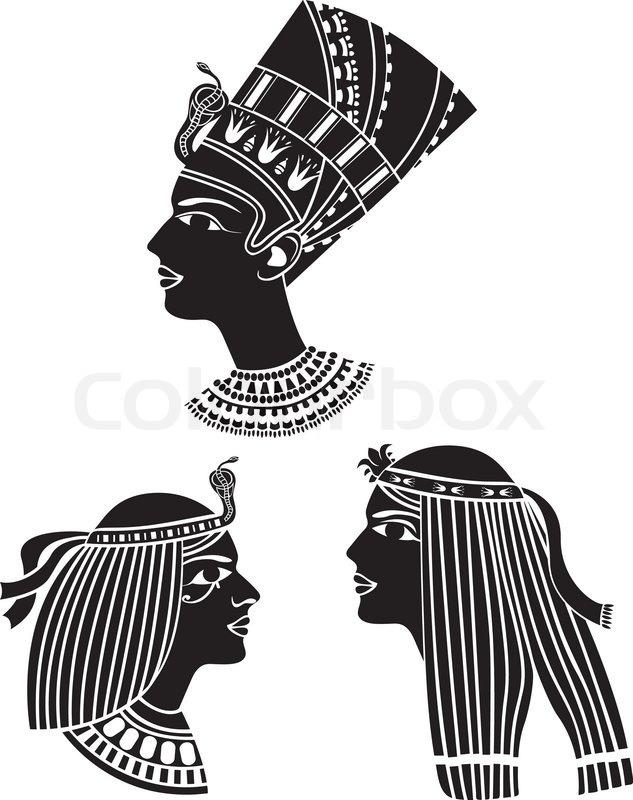 Ancient Egypt Women Profiles Set Stencil Stock Vector Colourbox