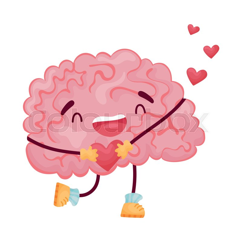 Cartoon Brain In Love Holding A Heart Stock Vector Colourbox
