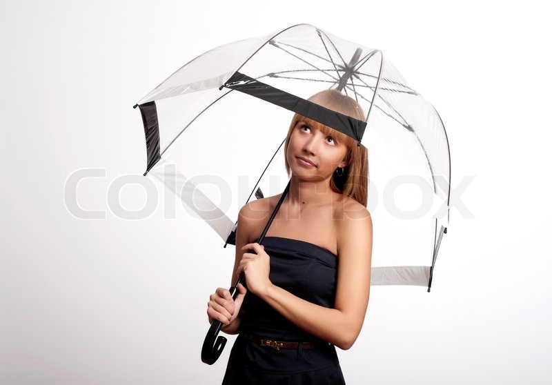 Woman Holding Umbrella Stock Photo Colourbox