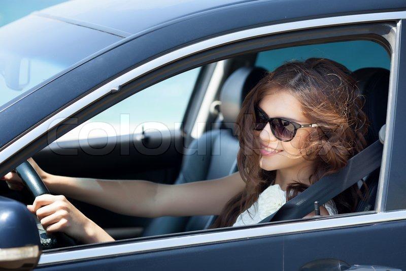 Girl Driving A Car Stock Photo Colourbox