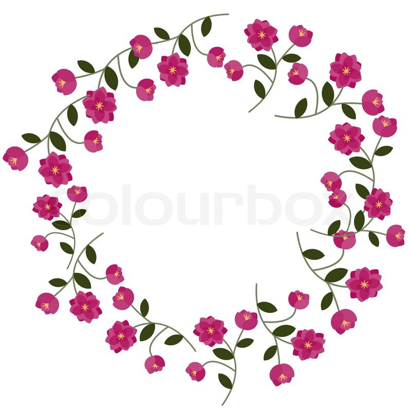 Floral frame with decorative pink flowers stock vector colourbox mightylinksfo