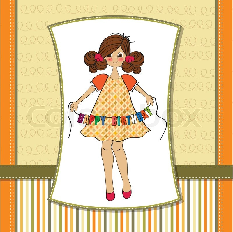 Cute Little Girl Wishing You Happy Stock Vector Colourbox