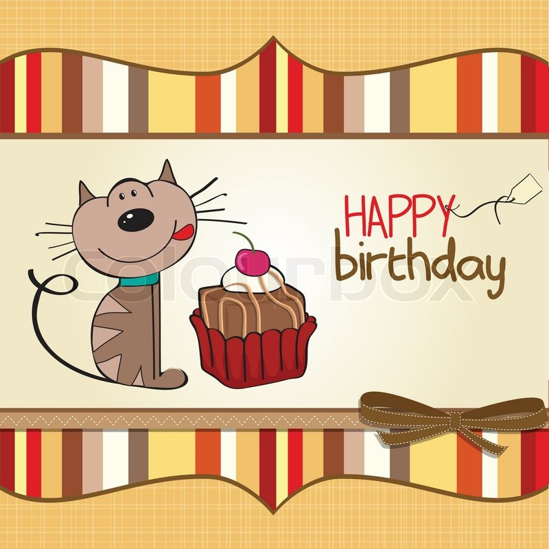 birthday greeting card with a cat waiting to eat a cake stock vector colourbox. Black Bedroom Furniture Sets. Home Design Ideas