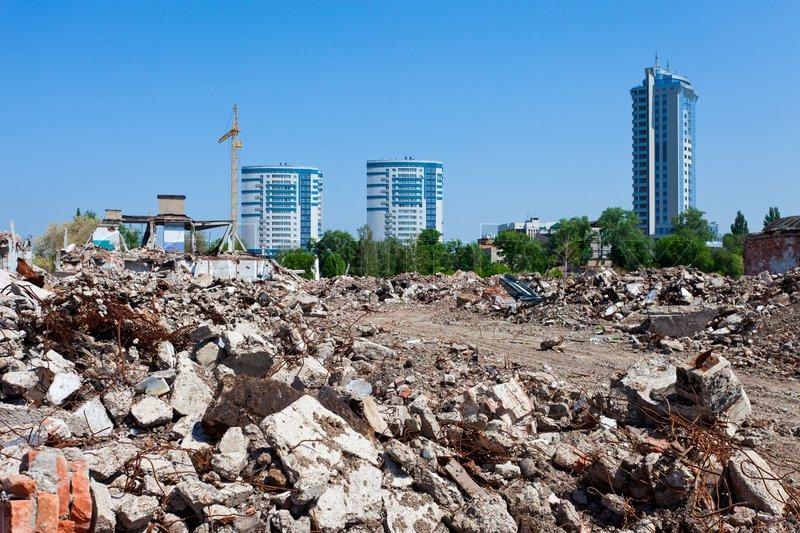Pile Of Building Debris : Pile of debris ruined building on new buildings