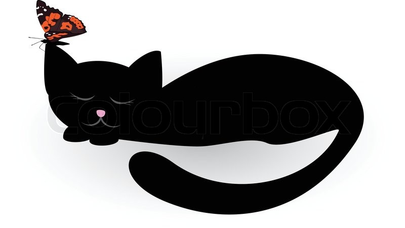 Кот с бабочкой мультик
