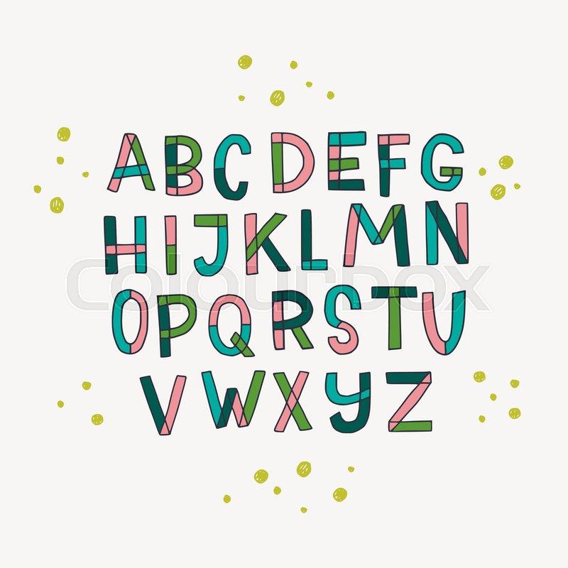 Hand Drawn Sans Serif Block Letters Stock Vector