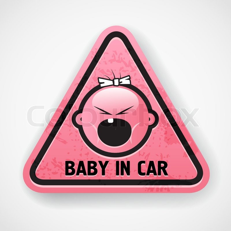 baby  car  girl  pink  decal  sticker  scream  attention  grunge  tooth  young  kid  child