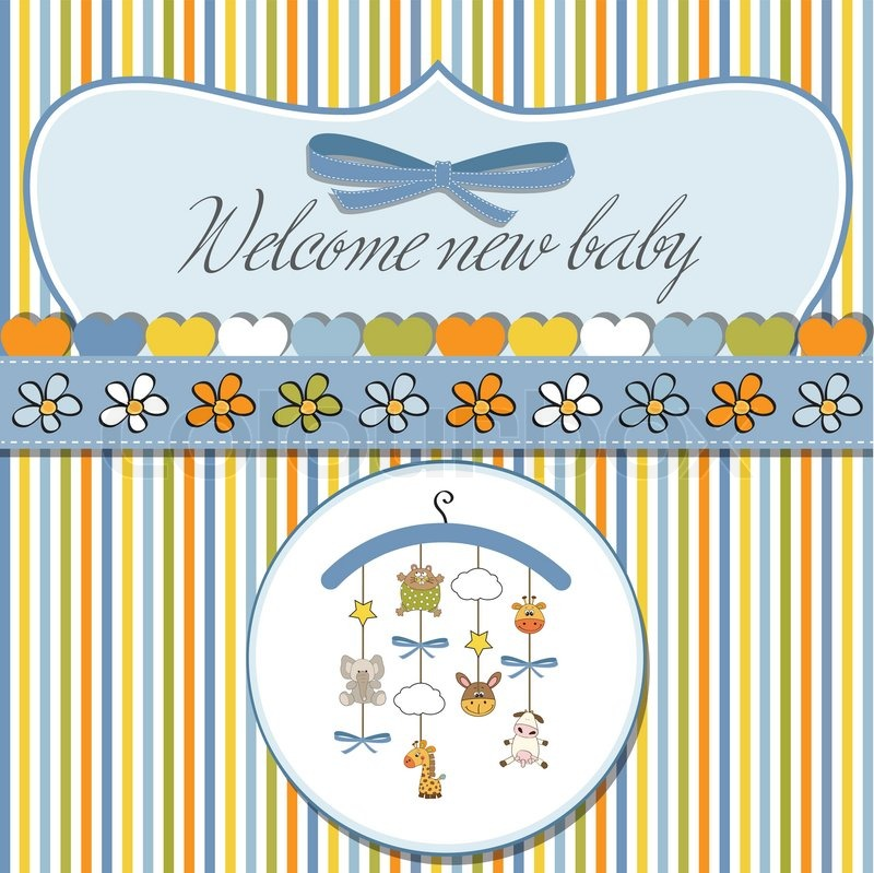 Welcome baby announcement card | Stock Vector | Colourbox