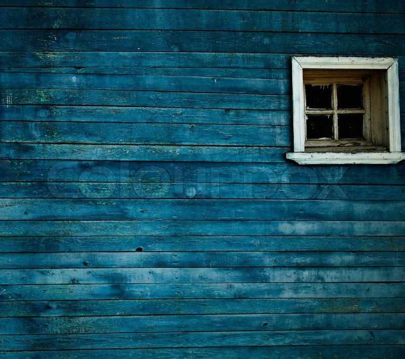 Blue wooden wall, window | Stock Photo | Colourbox