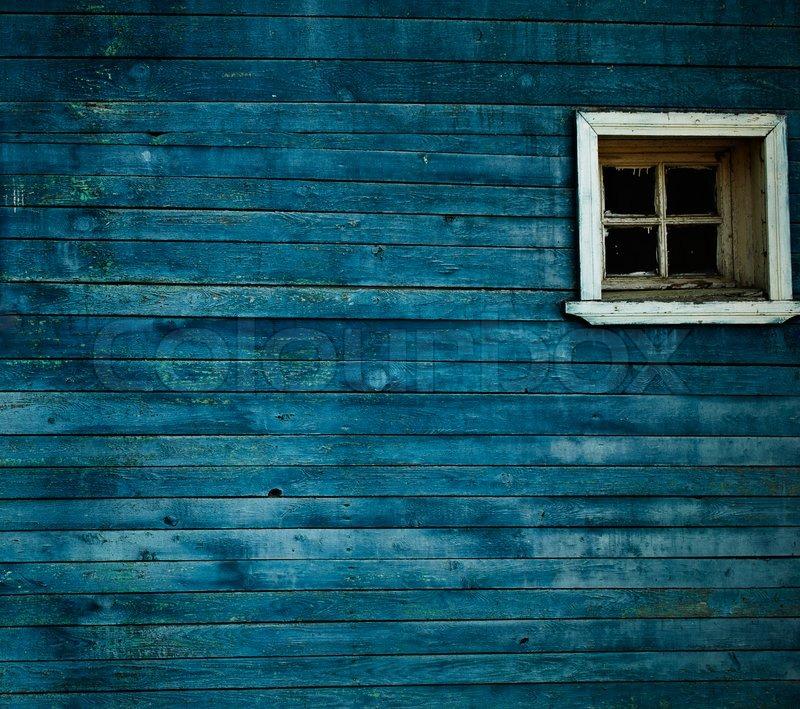 Blue Wooden Wall Window Stock Photo Colourbox