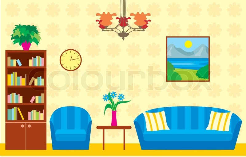 Living Room Stock Vector Colourbox
