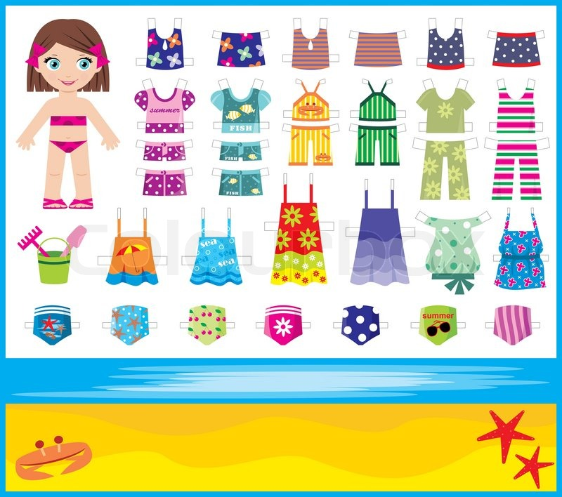 Stock vector of paper doll with summer set of clothes